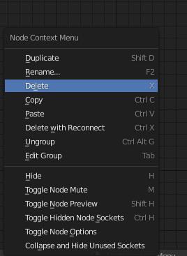 blender delete nodes