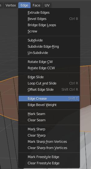 blender subdivision edge crease