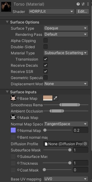 unity material texture parameters inspector skin diffusion profile subsurface scattering