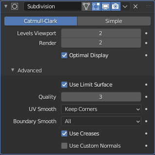 blender subdivision surface modifier settings