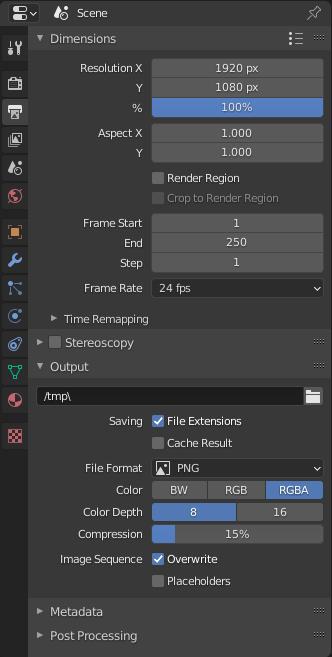 blender rendering output