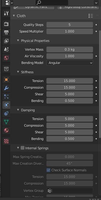 blender cloth simulation settings