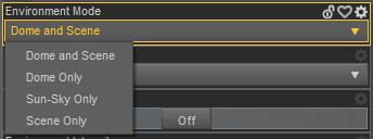 Environment Mode options inside Daz  Studio Render Settings