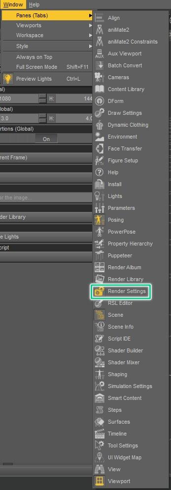 How to enable Render Settings inside daz studio