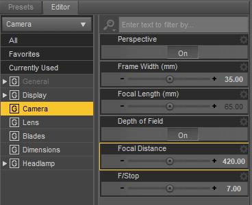 daz3d depth of field focal distance