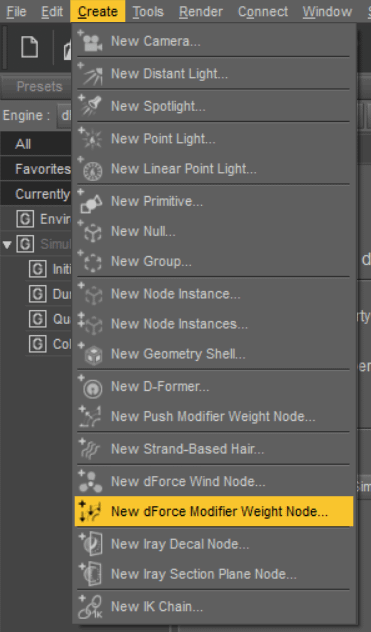 New dforce Modifier Weight Node