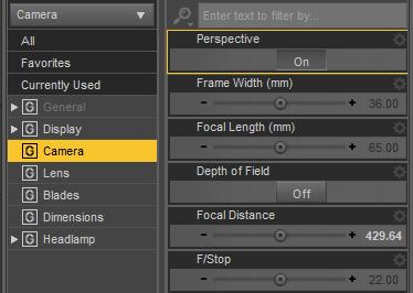 daz3d camera settings perspective