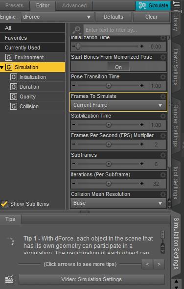 daz dforce simulation settings