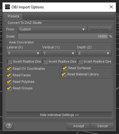 daz studio object import options for blender 3d model