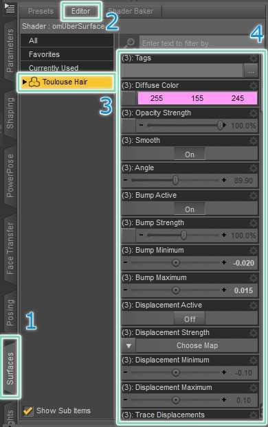 daz3d changing hair color manually editor