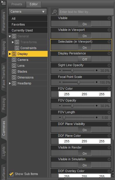daz3d camera display settings