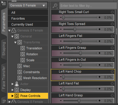 pose controls settings inside daz