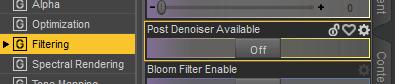 daz render settings filtering post denoiser option