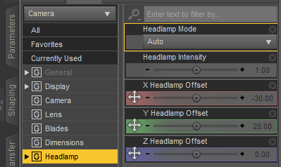 daz studio headlamp settings