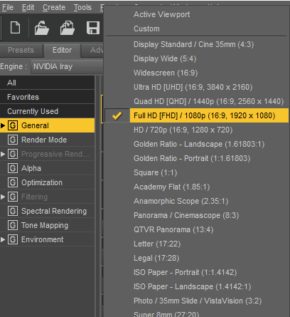 render settings daz resolution