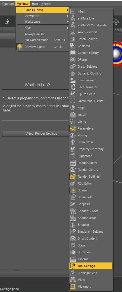 daz tool settings