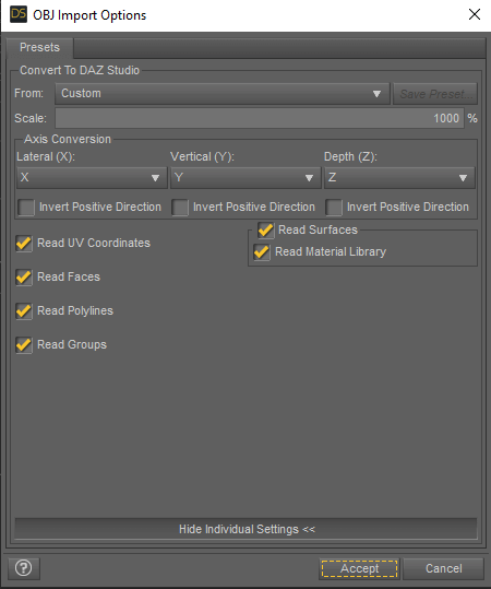 import settings obj file scale daz3d