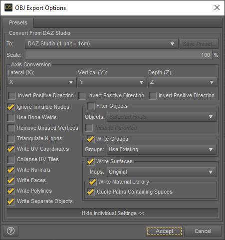 daz3d texture export options