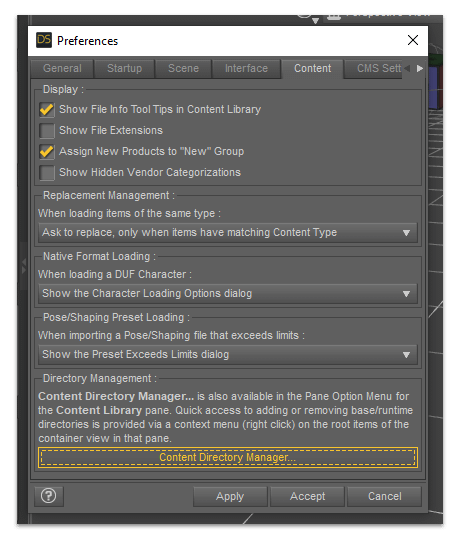 daz 3d manual install - content directory manager