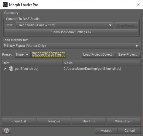 daz3d choose morph files
