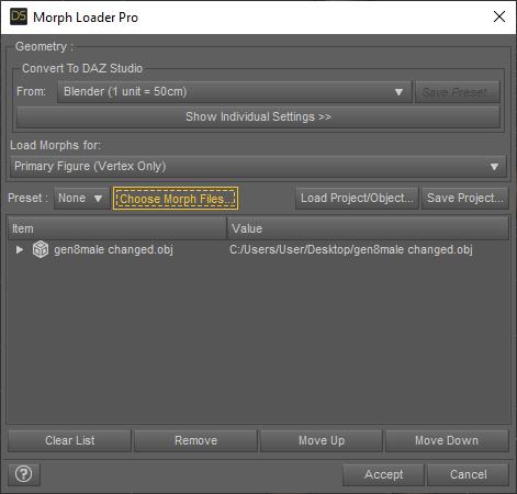 daz3d morph loader pro options