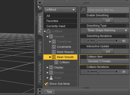 daz studio poke through mesh smoothing parameter