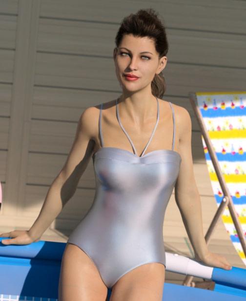 genesis character wearing one piece swimwear