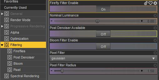 daz render settings filtering tab