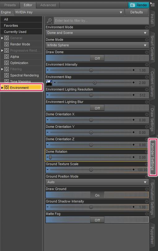daz studio render settings environment