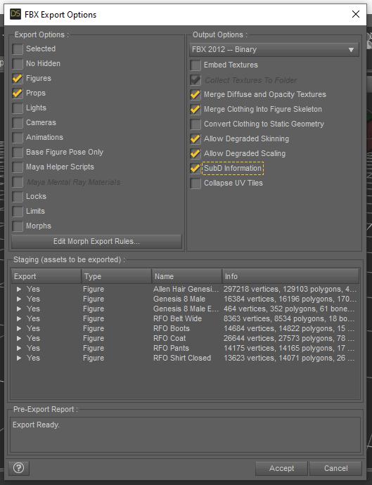 daz studio figure fbx export options