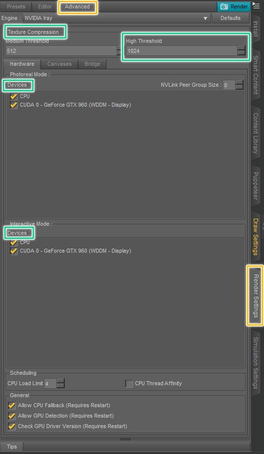 advanced render settings inside daz studio
