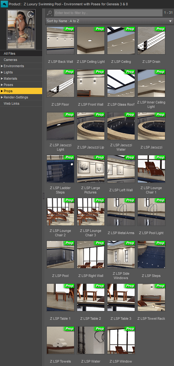 3d assets included in the pool with jacuzzi 3d Model