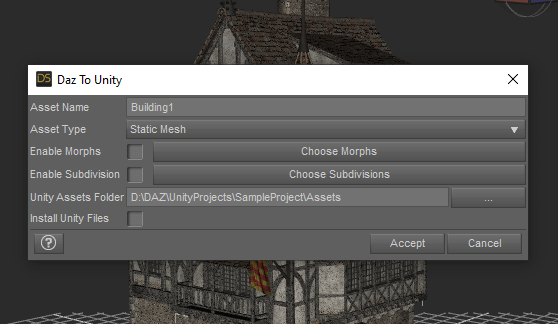 daz studio export options static mesh to unity