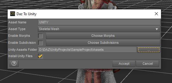 daz studio 3d export options to unity3d skeletal mesh