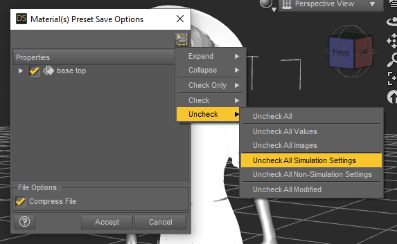 daz studio save material preset without dforce settings