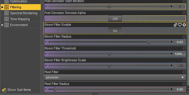 daz render settings filtering bloom effect