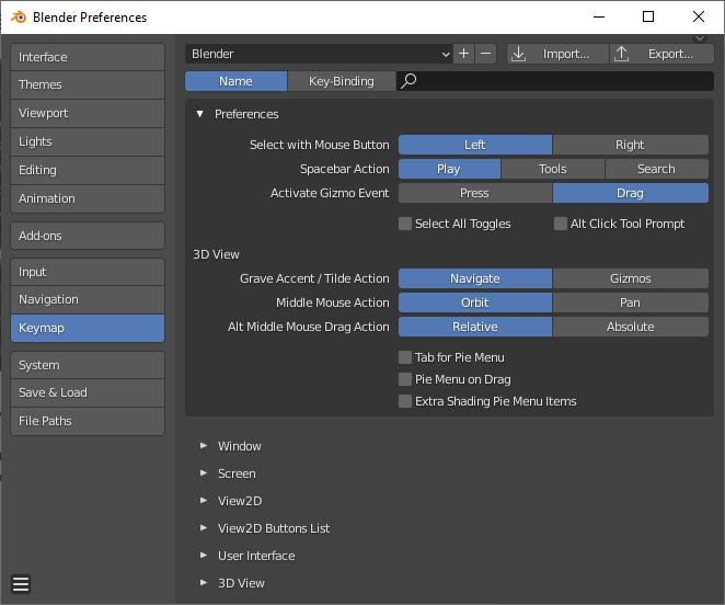 blender keymap