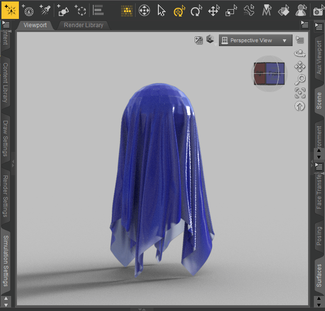 rendering of daz3d dforce cloth simulation