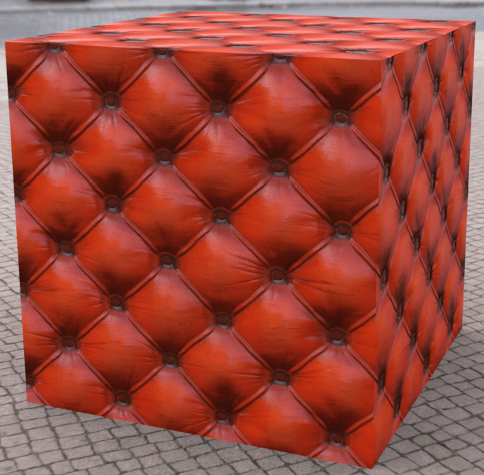 daz3d texture tutorial outcome - sofa texture on a cube
