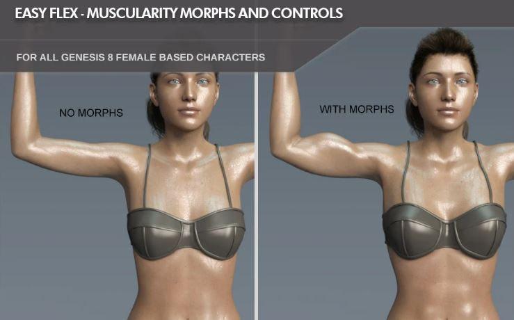 easy daz3d flex muscularity morph for female