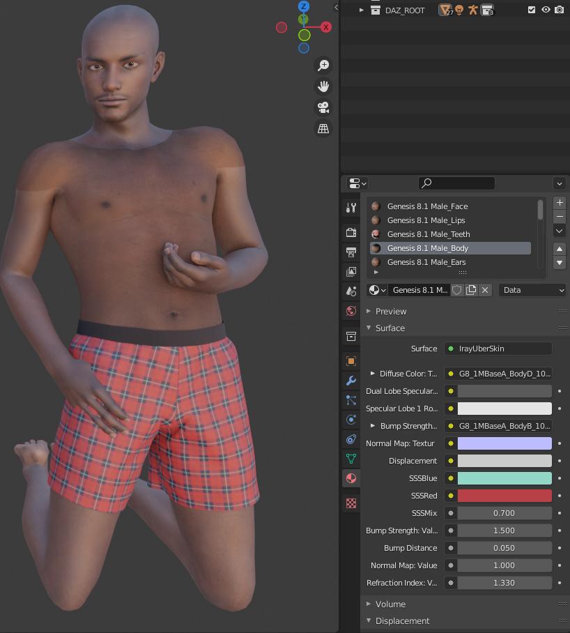 daz to blender edit materials