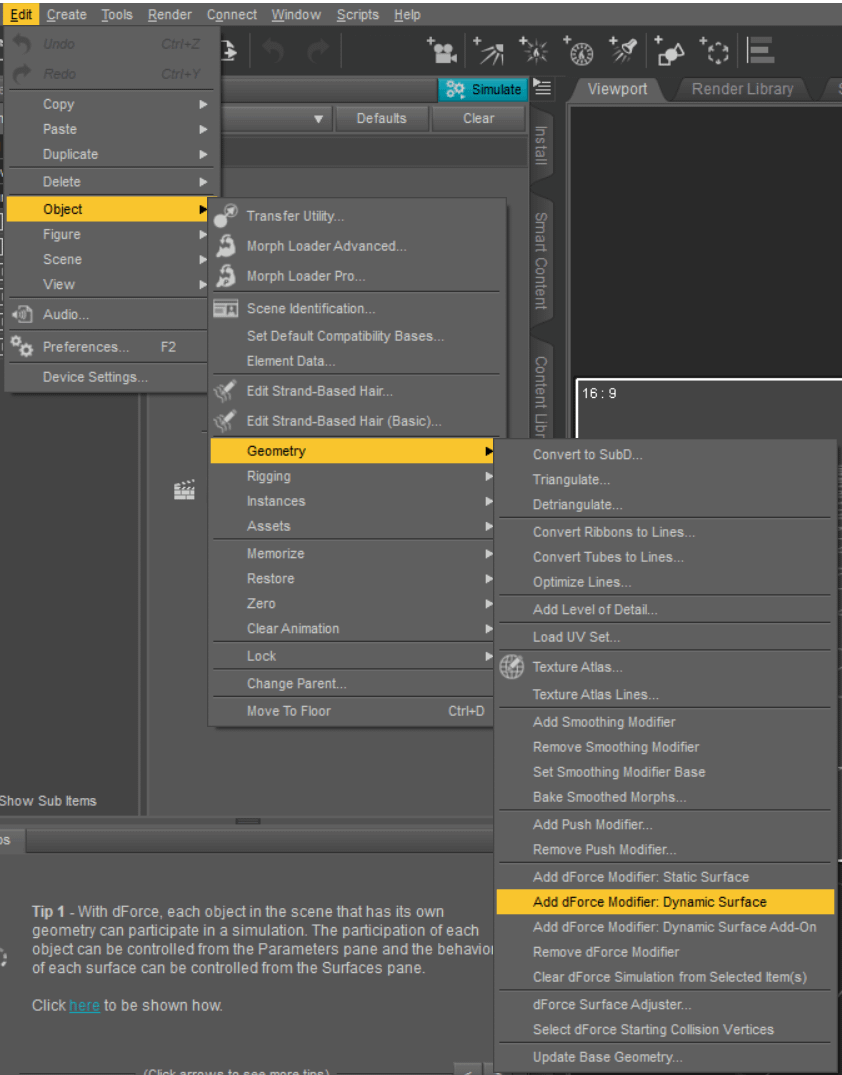 Add dForce Modifier for Dynamic Surfaces