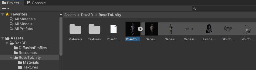 Unity imported model character asset folder
