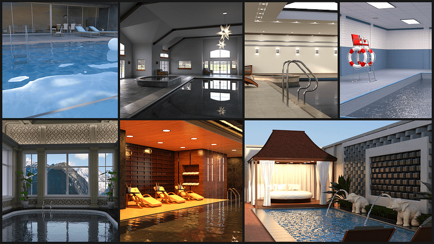 3d models of 7 different swimming pools
