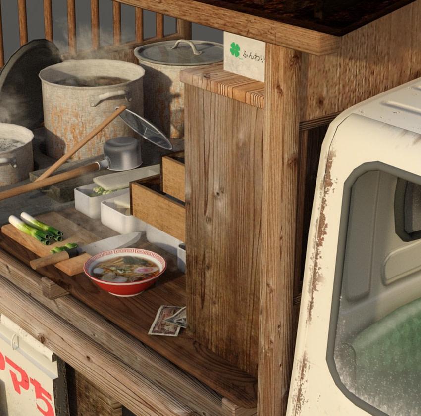 japanese ramen food truck daz 3d model