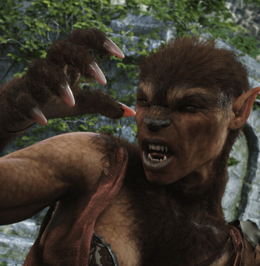 female werwolf 3d asset