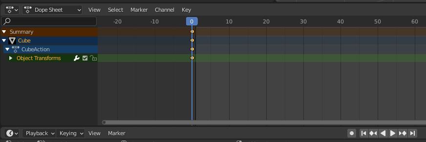 blender keyframes on the timeline
