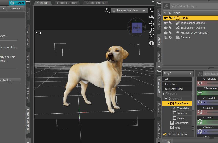 daz viewport preview filament render scene options dog