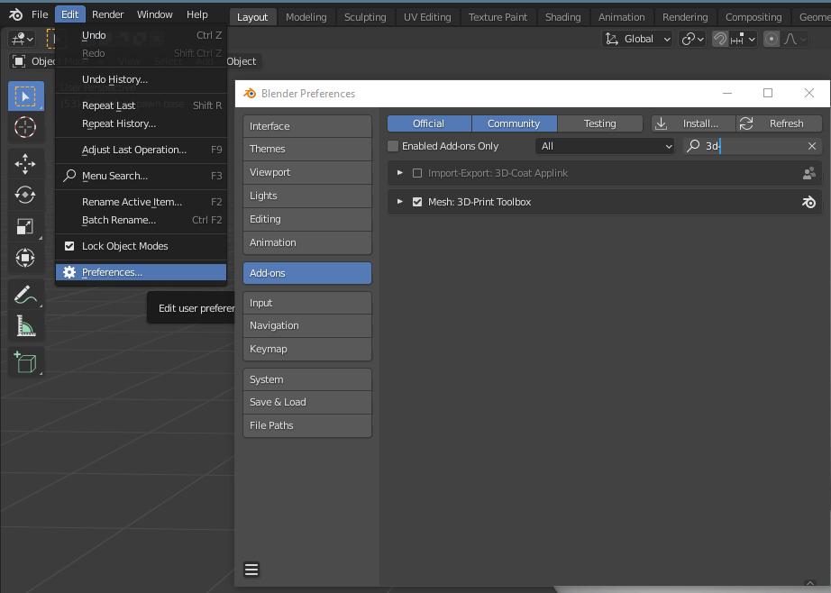 blender 3d printing add on