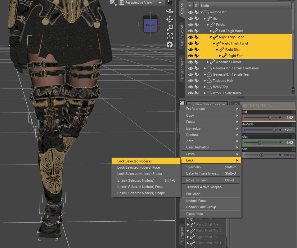 daz3d mirror pose lock nodes